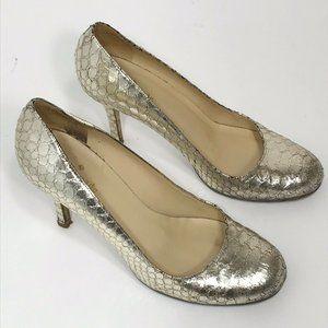Kate Spade Karolina Gold Metallic Snake Skin Heels